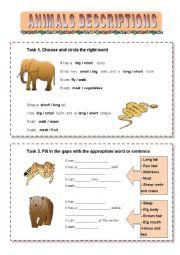 English Worksheet: Wild Animals Descriptions