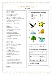English Worksheet: The Indefinite Articles a/an - Song