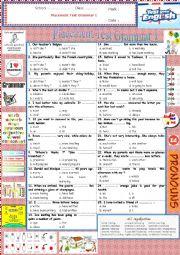 English Worksheet: Gr Ex - Placement Test Grammar 1