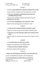 English Worksheet: UNLESS/IF