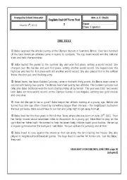 English Worksheet: 1st sports test