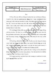English Worksheet: 2ne sports test