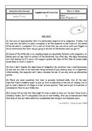 English Worksheet: end of term test (4th sports)