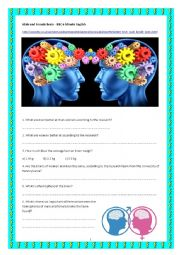 English Worksheet: Male and Female brains - BBC  6 minute English