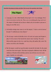 English Worksheet: 6th form exam (The Piper)