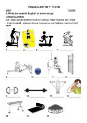 English Worksheet: Vocabulary of the gym (Fitness equipment)