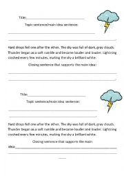 English Worksheet: Write the Missing Topic Sentence/Main Idea