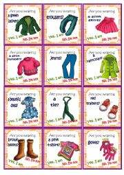 English Worksheet: Clothes Go fish