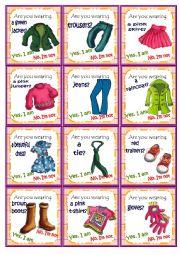 English Worksheet: Clothes Go fish