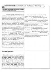 English Worksheet: Language tasks : Entertainment / holidaying / Technology
