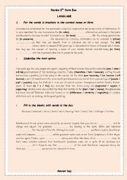 English Worksheet: Review 2nd form (Tunisian)
