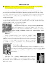 English Worksheet: Brief Introduction on The Olympian Gods
