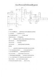 English Worksheet: Hygiene crossword with key