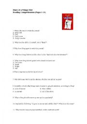 English Worksheet: Diary of a Wimpy Kid. Reading comprehension questions, pages 1-13