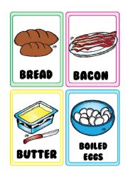 English Worksheet: Food FLASHCARDS 1-5