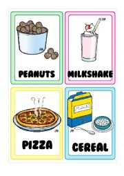 English Worksheet: Food FLASHCARDS 3-5