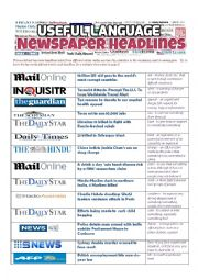 English Worksheet: NEWSPAPER HEADLINES - Useful Language
