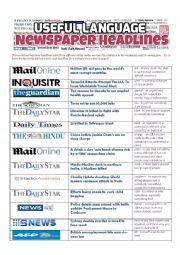 English worksheet: NEWSPAPER HEADLINES - Useful Language
