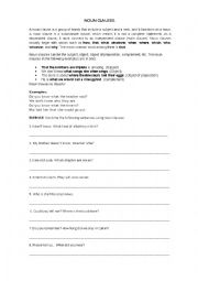 english worksheets noun clauses. Black Bedroom Furniture Sets. Home Design Ideas