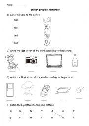 Practice worksheet for ESL students