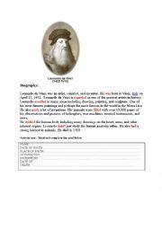 English Worksheet: Leonardo da Vinci biography