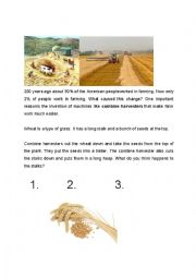 English Worksheet: Combine Harvester Reading Jigsaw