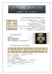 English Worksheet: Song: I bet my life - Imagine Dragons