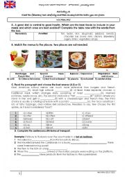 English Worksheet: Healthy food