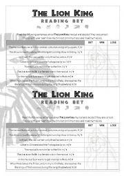 English Worksheet: The Lion King Reading Bet (I)