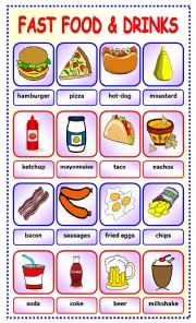 English Worksheet: Fast Food and Drinks:pictionary_7
