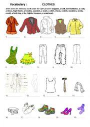 English Worksheet: Vocabulary: Clothes