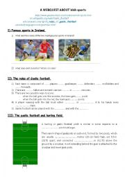 english worksheets irish sports gaelic football webquest. Black Bedroom Furniture Sets. Home Design Ideas
