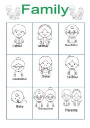 English Worksheet: Family for Kindergarten