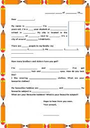 English Worksheet: 1st Penpal sample letter
