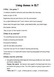 English Worksheet: using games in teaching