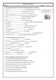 English Worksheet: Degrees of adjectives + articles + passive (With Key)