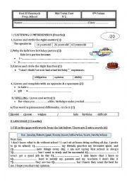English Worksheet: 8th forms Mid Term Test 2