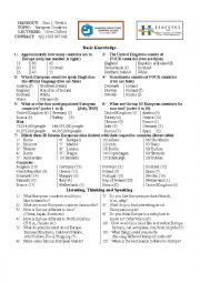 English Worksheet: European Countries - For Asian Students