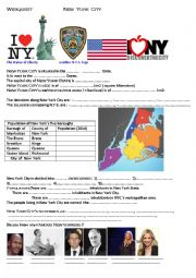English Worksheet: webquest about New York City