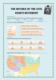 English Worksheet: The Mother of the Civil Rights Movement