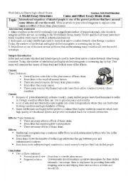 Cause effect essay lesson plan