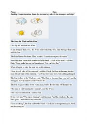 English Worksheet: The Sun, the Wind and the Rain