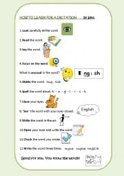 English Worksheet: How to learn for a dictation