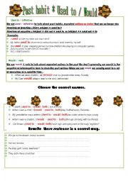 English Worksheet: use to vs . would