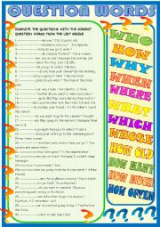 English Worksheet: Question words :Complete the questions