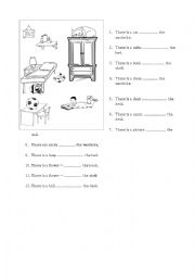 English Worksheet: Put correct prepositions: on, in, under or by