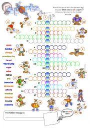 English Worksheet: Busy Bear Sports Crossword