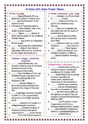 English Worksheet: Articles with proper nouns