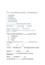 English Worksheet: Choose the correct option