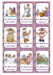 English Worksheet: How often do you...? Speaking Cards